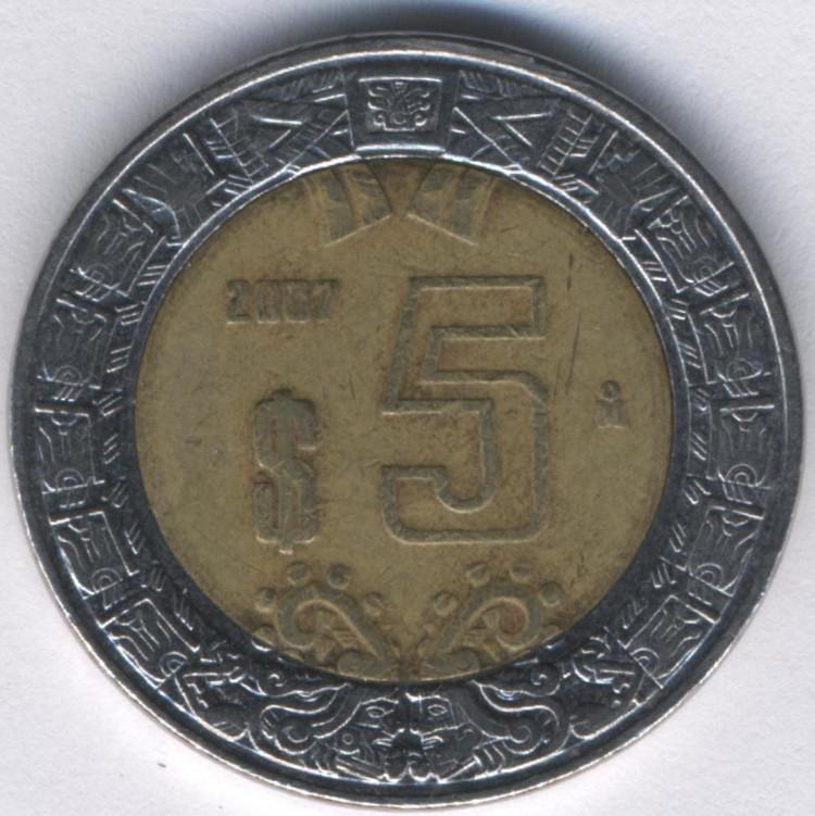 Купить мексика 5 песо 2015 год - орёл цена, фото, описание
