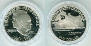 Монета ко дню 14 октября: президент США Эйзенхауэр.