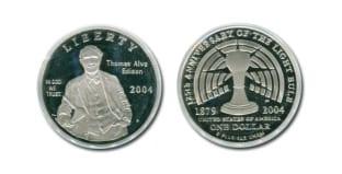 Монета ко дню 21 октября: первая лампочка Эдисона.