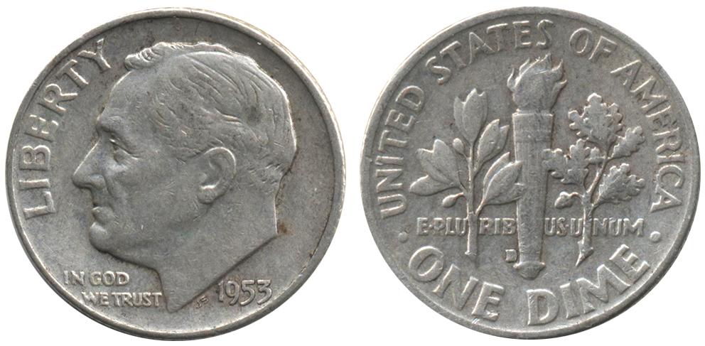 США 1 дайм (10 центов) 1953 год - Рузвельт (D)