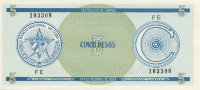 Cuba 5 pesos (foreign exchange certificate) 1985 (series C) - coat of Arms. The value