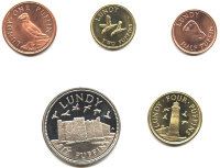 Set of 5 coins of Lundy Island (UK) 2011
