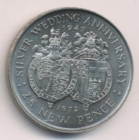Gibraltar 25 new pence 1972 - Wedding of Queen Elizabeth II and Prince Philip