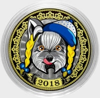 Dog snow white - Colored engraved coin 10 rubles