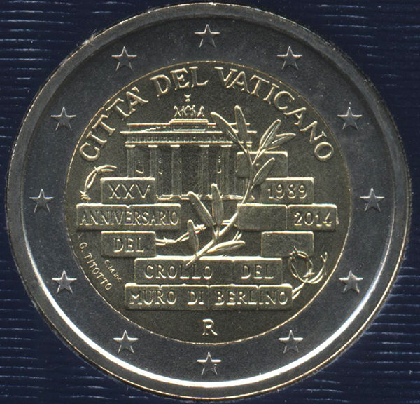 Vatican city 2 Euro 2014 - 25 years fall of the Berlin wall