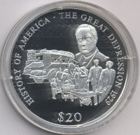 Liberia 20 dollars 2000 - the Great Depression of 1929
