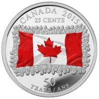 Set of 7 coins, Canada 2015 50 years of the canadian flag