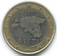 Estonia 1 Euro 2011 - Map