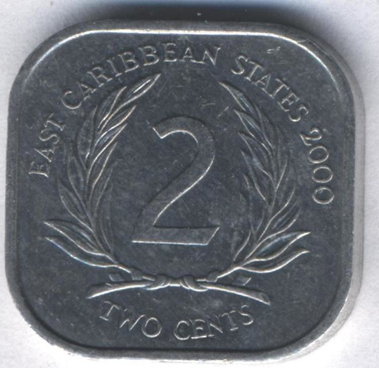 Eastern Caribbean 2 cents 2000