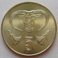 Cyprus 5 cents 2004 - the Head of a bull