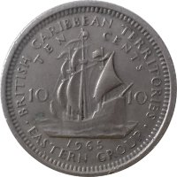 Eastern Caribbean 10 cents 1965 Ship