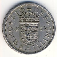 Great Britain 1 shilling 1954 - English coat of arms