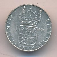 Sweden 1 Krona 1966 - King Gustav VI Adolf