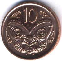 New Zealand 10 cents in 2014 - the Mask Maori
