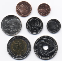 Set of 7 coins of Papua New Guinea 2004 - 2008