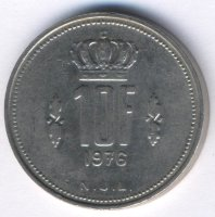 Luxembourg 10 francs 1976 - Grand Duke Jean