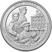 USA 25 cents in 2017 national monument Ellis island (D)