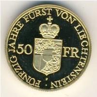 Лихтенштейн 50 франков 1988 год