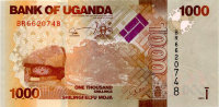 Uganda 1000 shillings, 2013 - the coat of Arms. Antelope. Independence monument