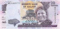 Malawi 20 Kwacha 2016 - King M Mbelwa II. Cichlid Livingston. College