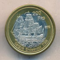 The Europa island 200 francs 2012 - the Ship endeavour 1768