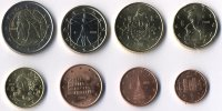 Set of 8 Euro coins of Italy year 2008