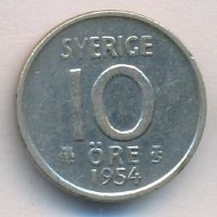 Sweden 10 öre 1954 - King Gustav VI Adolf