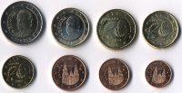Set of 8 Euro coins of Spain 2004