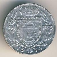 Лихтенштейн 2 франка 1924 год