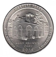 USA 25 cents in 2016 - national historical Park harpers ferry (P)