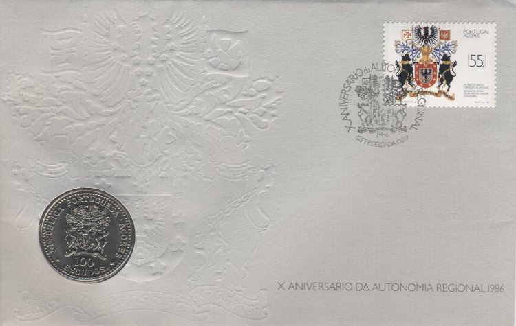 Portugal 100 Escudos 1986 - 10 years of autonomy for the Azores (in envelopes with stamps)