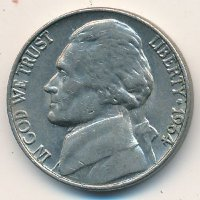 USA 5 cents 1964 - Thomas Jefferson (no marks MD)