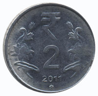 India 2 rupees 2011 - the New rupee symbol (Hyderabad)