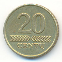 Lithuania 20 cents 1997 - Knight