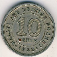 Malaya and British Borneo 10 cents 1953
