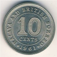 Malaya and British Borneo 10 cents 1961 (H)