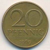 , East Germany 20 Pfennig 1969