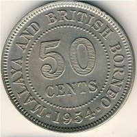 Malaya and British Borneo 50 cents 1954
