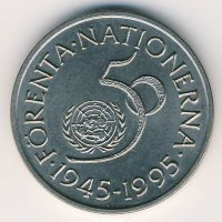 Sweden 5 kronor 1995 50 years United Nations (UN)