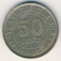 Malaya and British Borneo 50 cents 1955