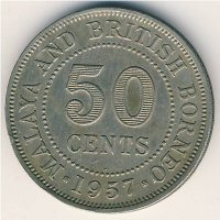 Malaya and British Borneo 50 cents 1957