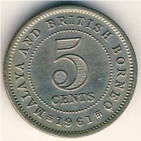 Malaya and British Borneo 5 cents 1961