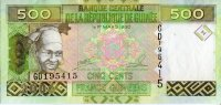 Guinea 500 francs 2006 - portrait of a woman. The coat of arms. Mine