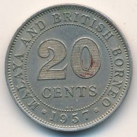 Malaya and British Borneo 20 cents, 1957