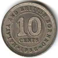 Malaya and British Borneo 10 cents 1956