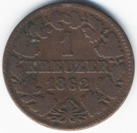 Germany (Nassau) 1 Kreuzer 1862
