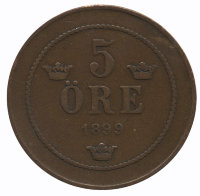 Sweden 5 öre 1899 - King Oscar II (new type)
