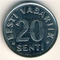 Estonia 20 senti 2004 - Three lions