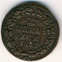 Germany Nassau 1/4 Kreuzer 1822