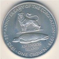 Ascension island 1 crown 1978